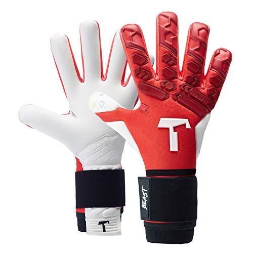 T1TAN Red Beast 2.0 Torwarthandschuhe mit Fingerschutz, Fußballhandschuhe Herren & Erwachsene - 4mm Profi Grip - Gr. 6