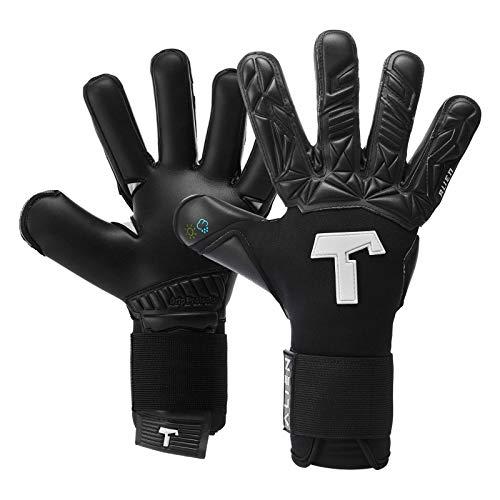 T1TAN Alien Black-Out Torwarthandschuhe für Erwachsene, Fußballhandschuhe Herren Innennaht und 4mm Profi Grip - Gr. 10