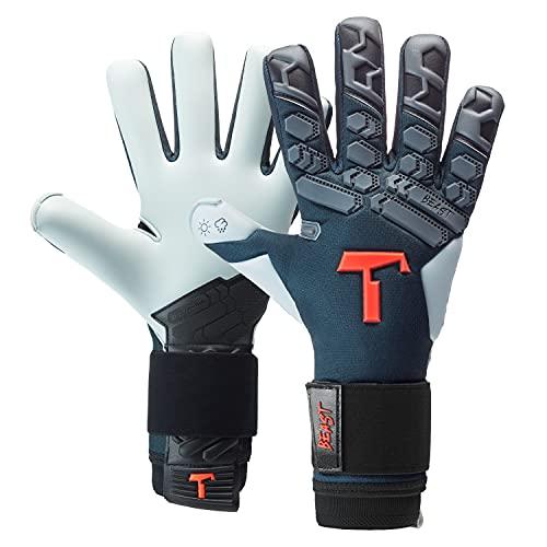 T1TAN Petrol Beast 2.0 Torwarthandschuhe für Erwachsene, Fußballhandschuhe Herren Innennaht und 4mm Aqua Grip - Gr. 6