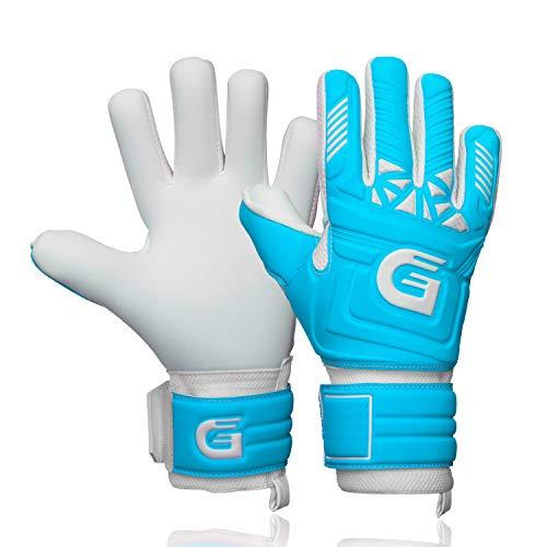 GUARDY - Fingerschutz Kinder Torwarthandschuhe – Haltbare Torhüterhandschuhe für Kinder - Keeperhandschuhe mit extra starkem Grip (blau mit Fingerschutz, 3)