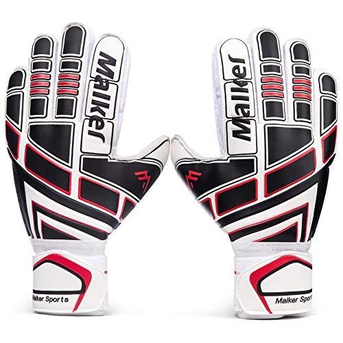 Malker Torwarthandschuhe Fußball Handschuhe für Erwachsene und Jugend Kinder mit Fingerschutz, Stärken Grip, rutschfeste,Ausrüstung Verhindert von Verletzungen(Größe 6 Schwarz/Weiß)