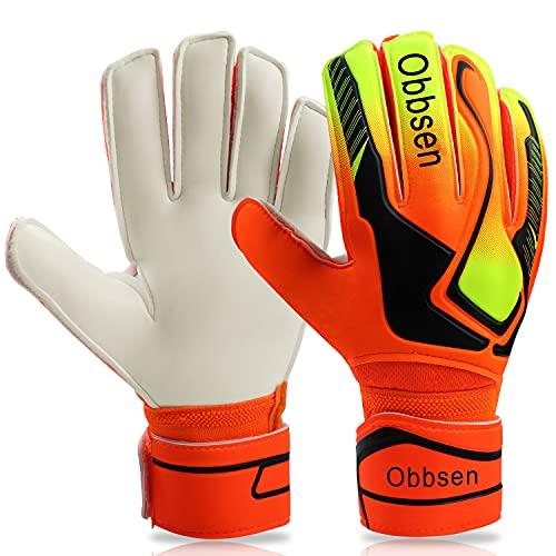 Obbsen Torwarthandschuhe mit Fingersave für Erwachsene Herren Damen, Fußball Handschuhe Torwart die Super Grip und rutschfest