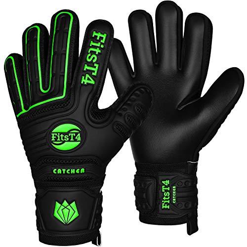 FitsT4 Torwarthandschuhe mit Fingersave-Schutz, Super-Grip, Torhüter Keeperhandschuhe für Kinder Jungen Erwachsene - Diverse Größen + Farben , Schwarz/Limonengrün , 8